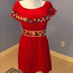 Mexican Fiesta Embroidered Red Dress Elastic Waist